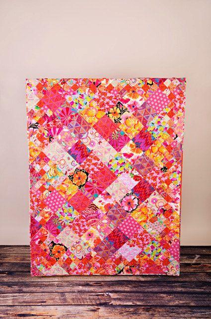 TANGERINE lap quilt from Kaffe Fassett fabrics by CityQuilts