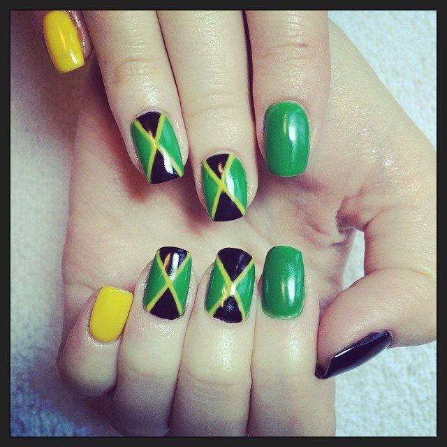 jamaica jamaican flag nails design shellac kodi gelpolish | Nail\'s ...