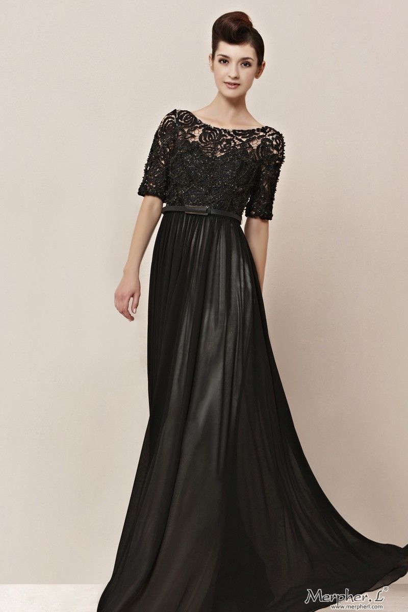 Black Lace Half-Sleeve Sashes Full-Length Bridesmaid Ball Gown ...