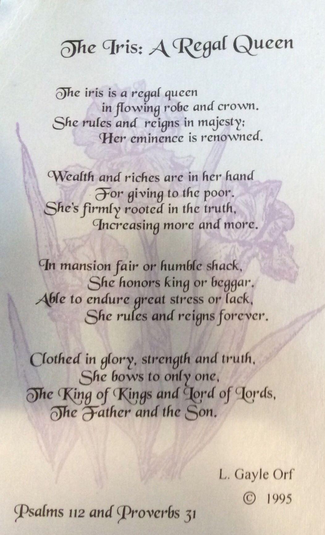 The Iris A Regal Queen Flower Quotes Iris Garden Words