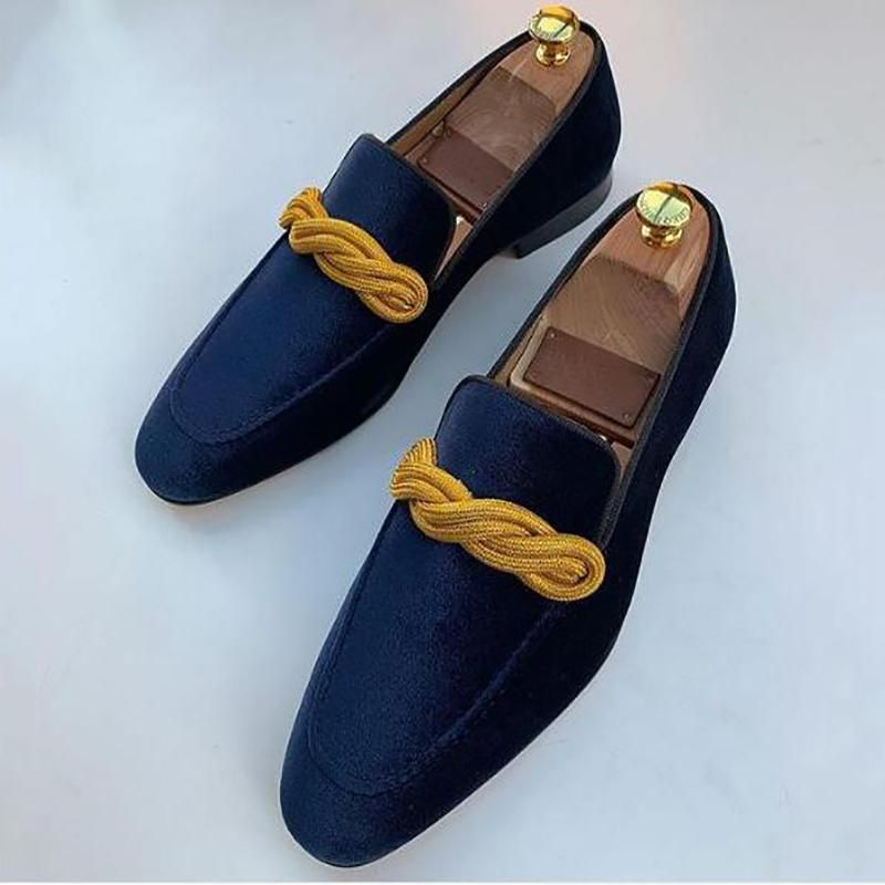 Suede Surface Royal Blue Loafers in
