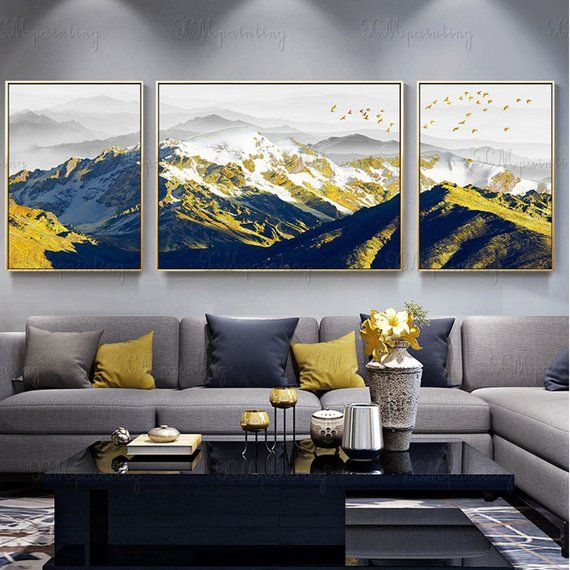 3 Pieces Framed Abstract Mountains Painting Canvas Wall Art Etsy Living Room Canvas Living Room Art Canvas Art Wall Decor