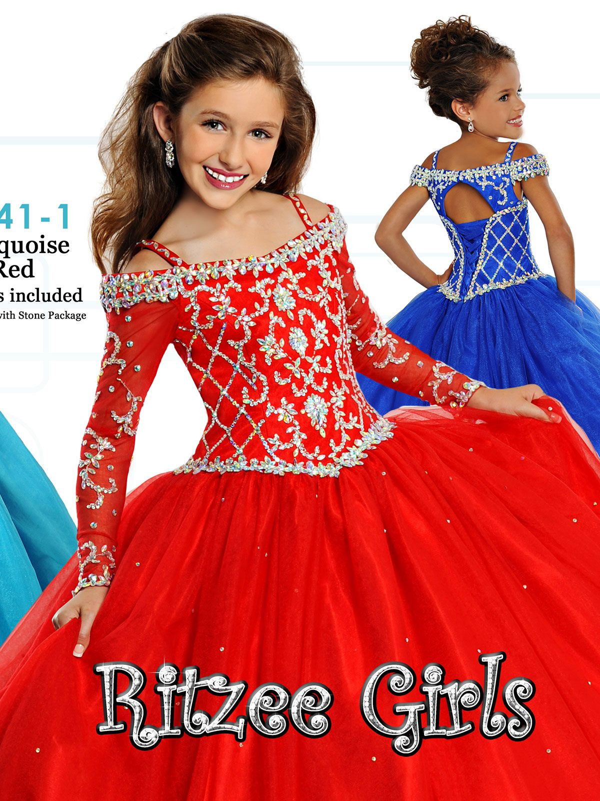 Ritzee Girls 7141 Off The Shoulder Pageant Dress