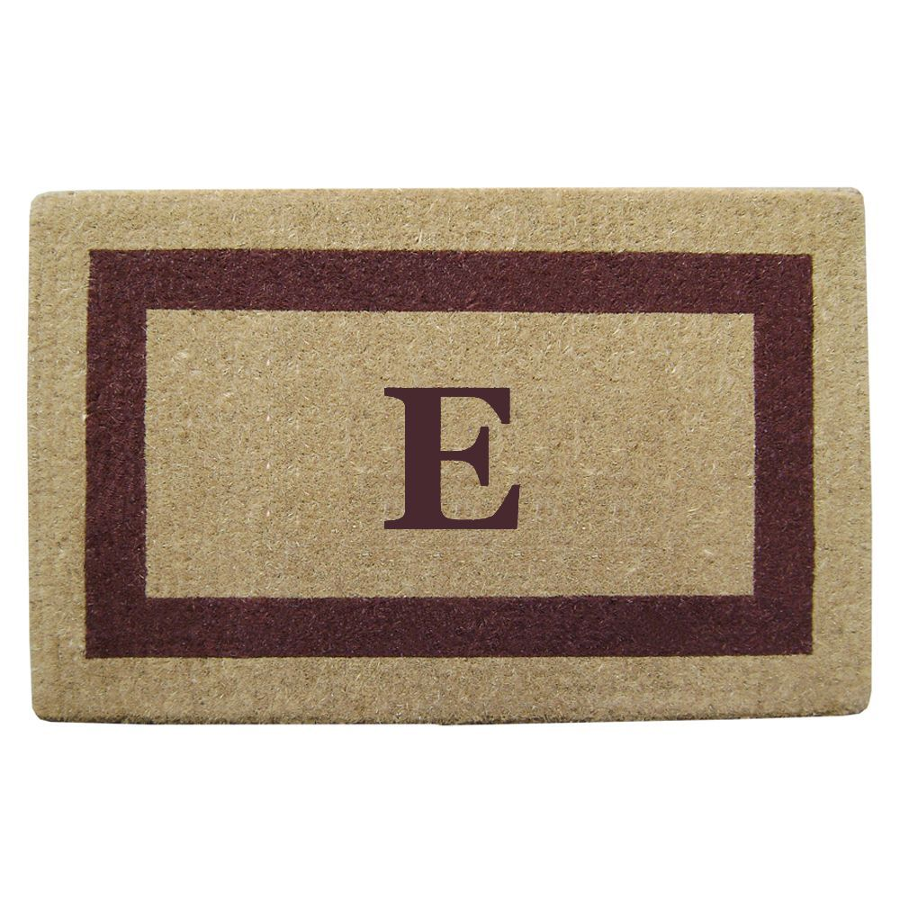Enterprises Heavy Duty Coir Monogrammed Brown Frame Door Mat (22 in. x 36 in. Brown - Monogrammed