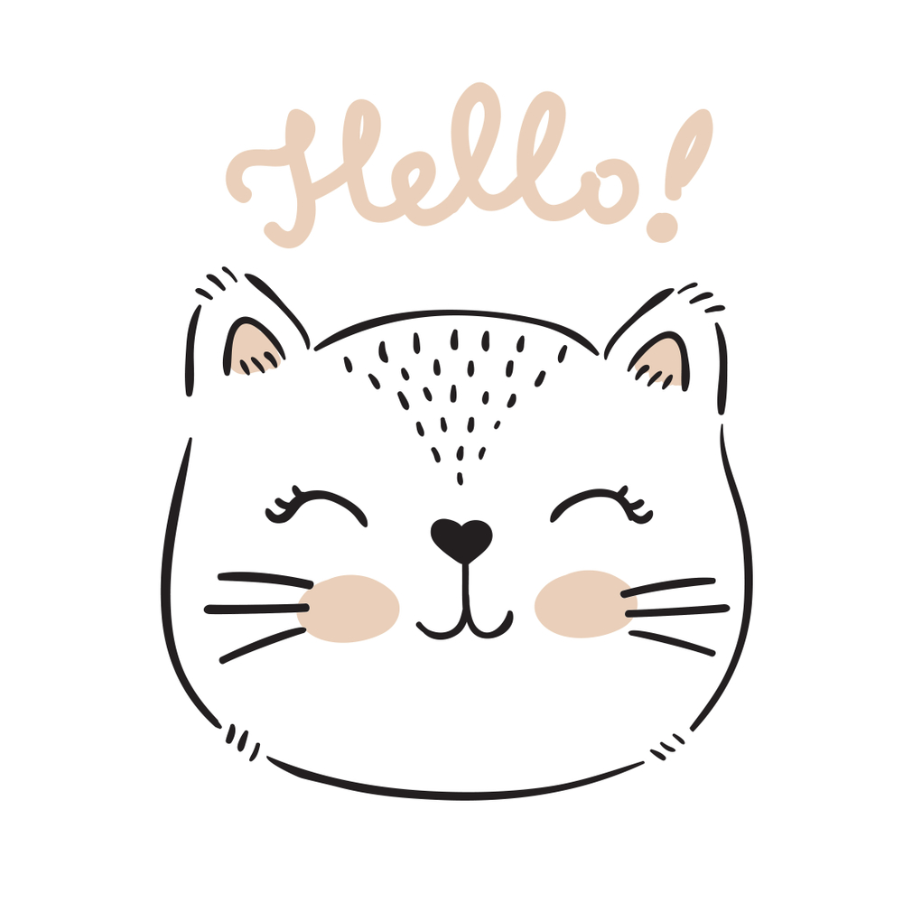 Vector Hand Drawn Cute Cats Face Cute Cat Face How To Draw Hands Cat Template