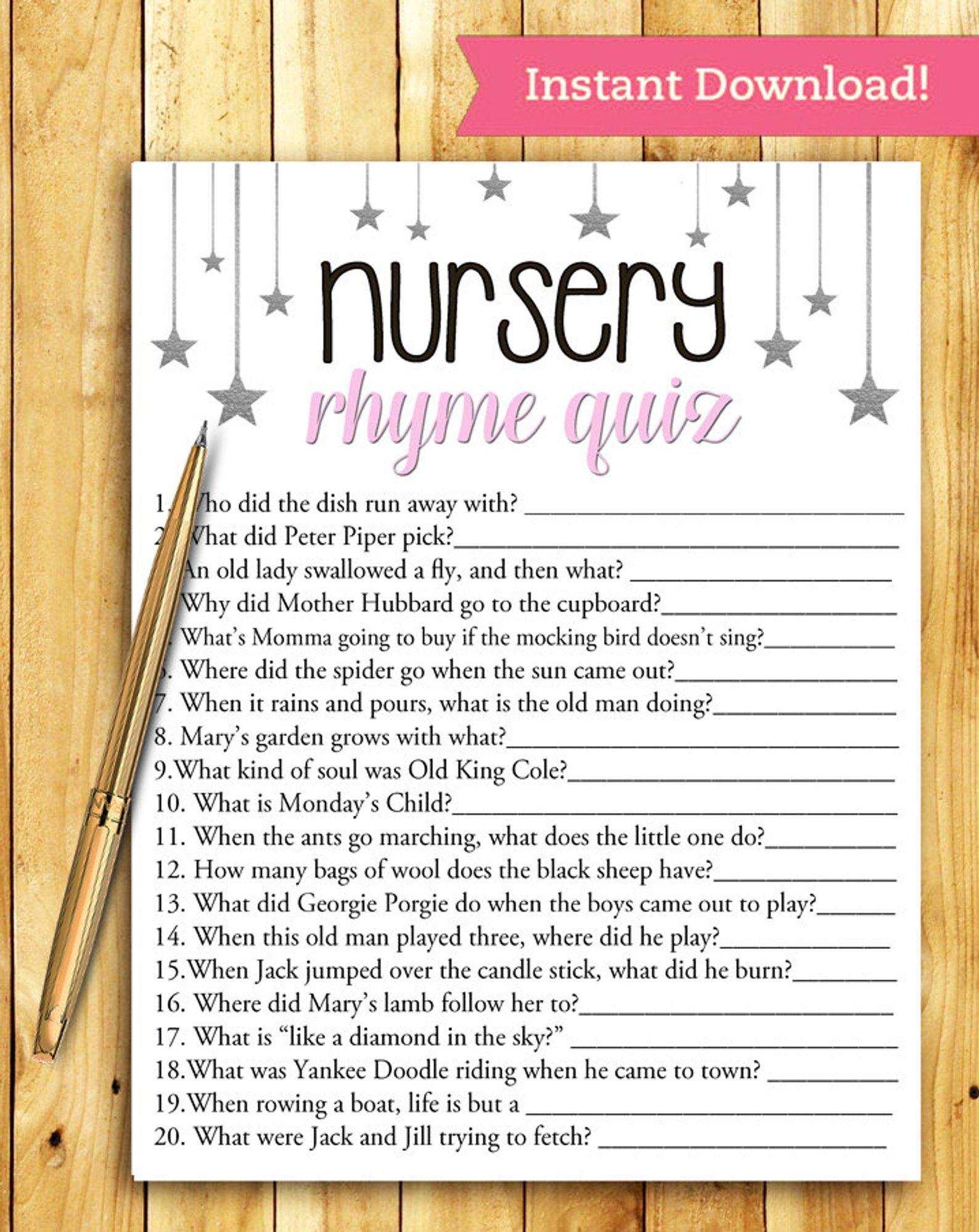 Baby Shower Game Nursery Rhyme Quiz