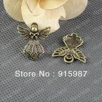 20 unids/lote 26 * 23 mm de bronce del bowknot del alas del ángel colgantes del encanto de la joyería de los colgantes joyería apta que hace compras libres