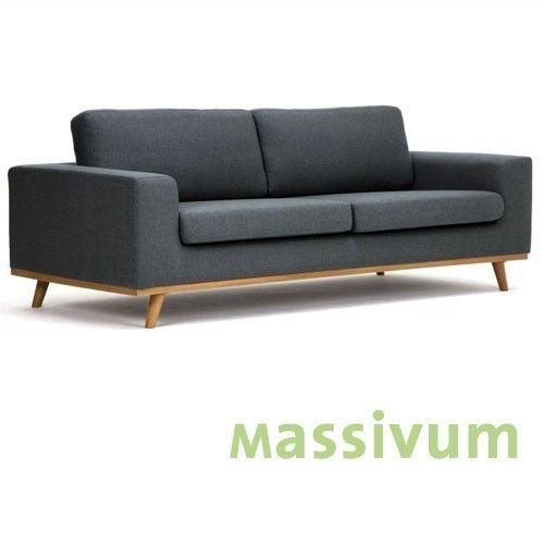 Sofa 3sitzer Couch Retro Stoff Dunkel Grau Sitzmobel Wohnmobel Kingham Wohn Mobel Sofa Graues Sofa