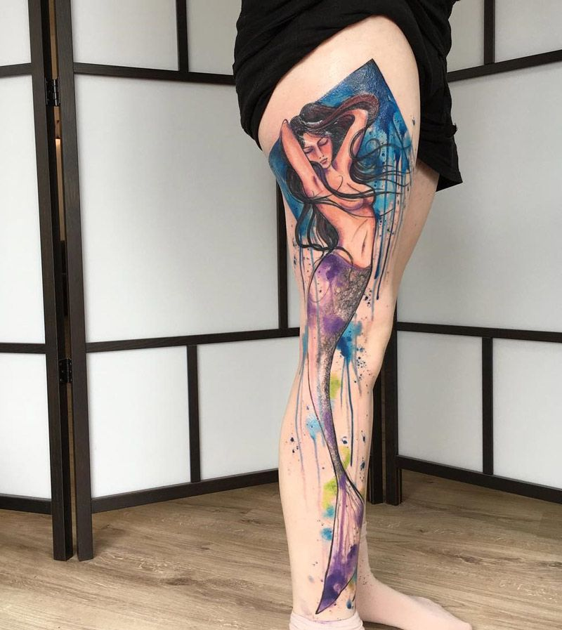 Photo of Mermaid Full Leg Watercolor | Best tattoo design ideas