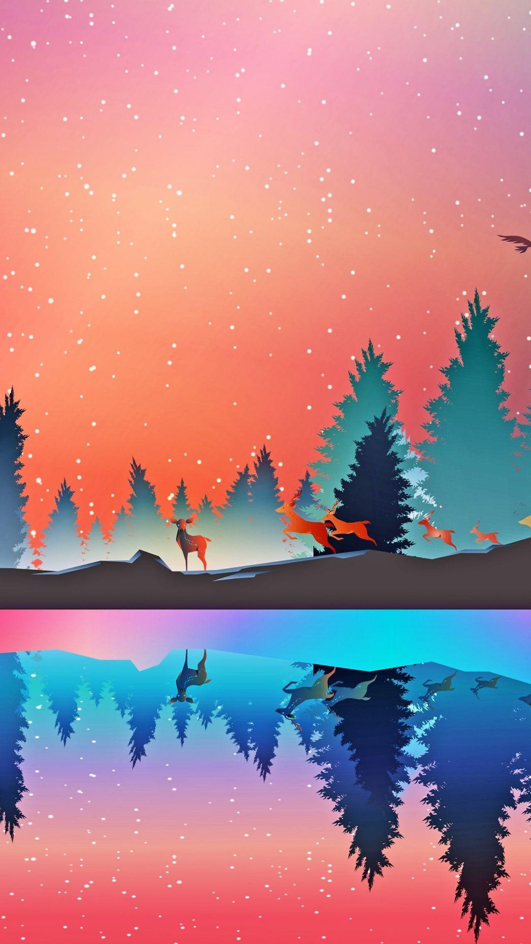 Wildlife Fantasy Deer Lake Reflections Digital Art 1080x1920