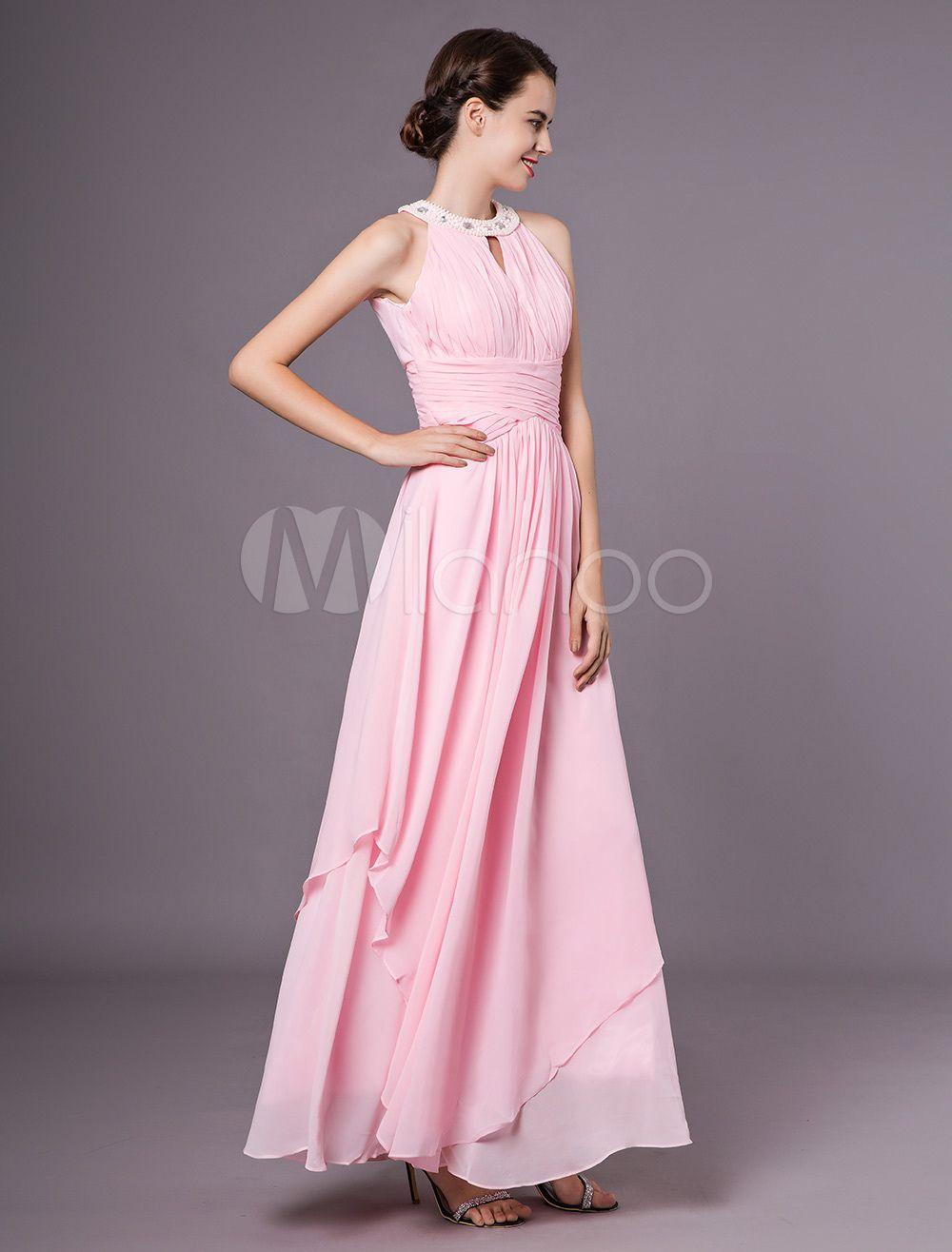 Soft Pink Prom Dresses Halter Chiffon Beaded Keyhole Floor Length