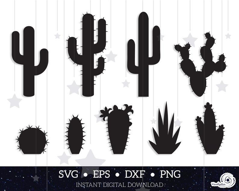 Cactus Vector Set Instant Digital Download Svg Dxf Etsy In 2021 Cactus Vector Cactus Silhouette Cactus