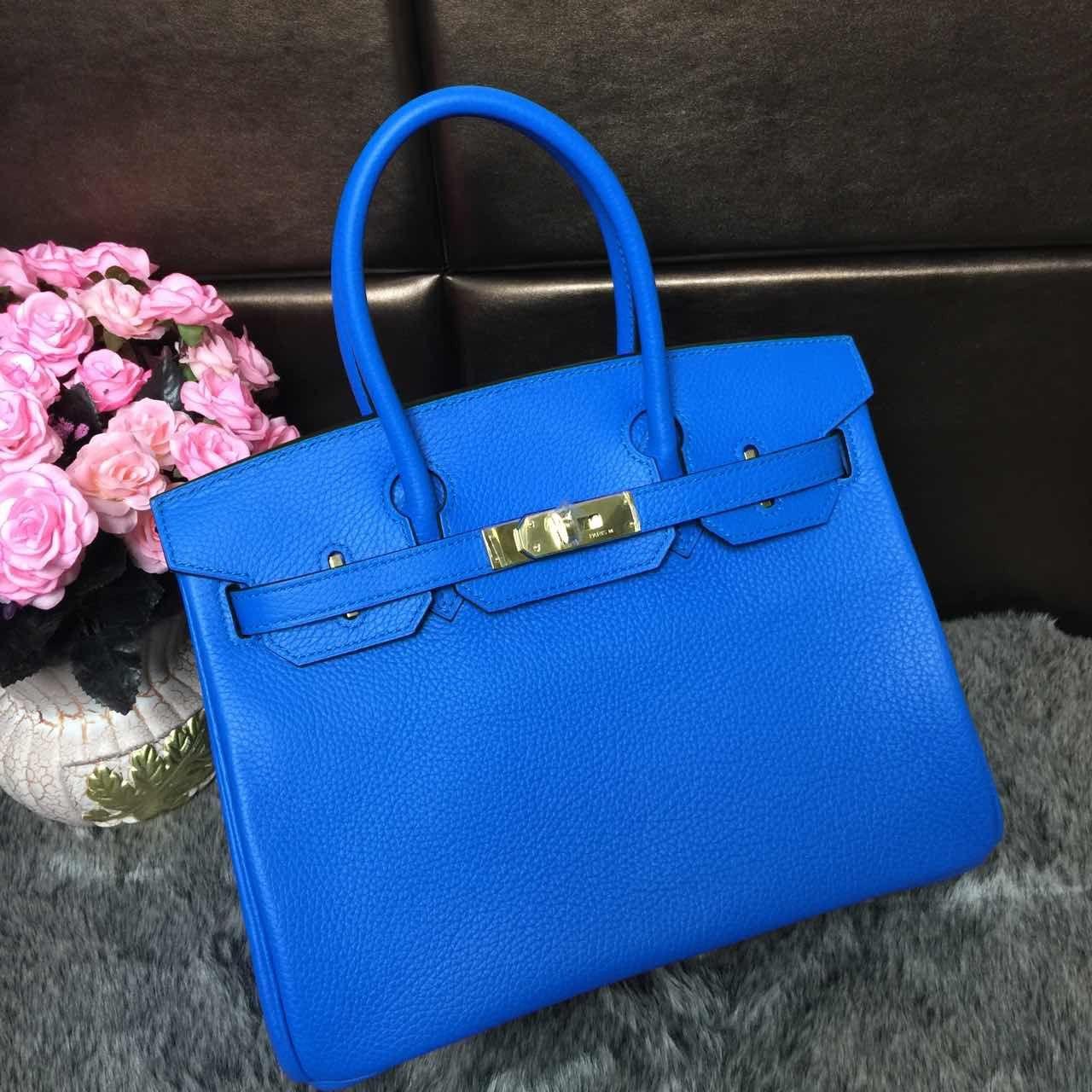 15c5a8593fcc Hermes Birkin 30 Original Togo Leather Cobalt Blue (Gold hardware ...