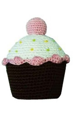 Strawberry Cupcake!!! Hand-Knit Dental Dog Toy.