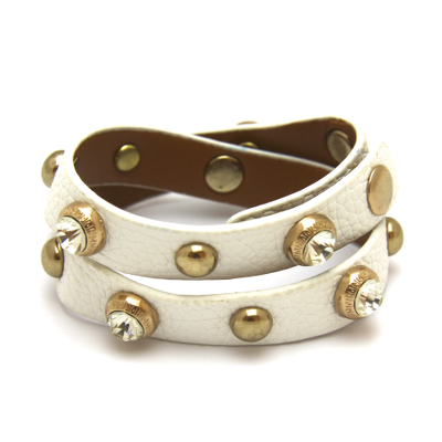 Carly - White Leather Wrap Bracelet with metal and diamonte studding.