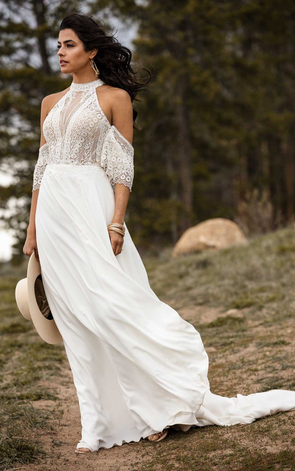 Simple Bohemian Wedding Dress With Removable Arm Cuffs All Who Wander Wedding Dresses Boho Wedding Dress Bohemian Wedding Dresses [ 1799 x 1128 Pixel ]