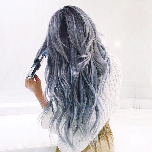 grafika hair, grey, and blue