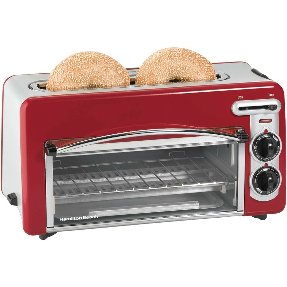 Toaster Oven Hamilton Beach Toastation 2 In 1 2 Slice In Red Toasters Kitchen Hamiltonbeach Toaster Toaster Oven Countertop Oven