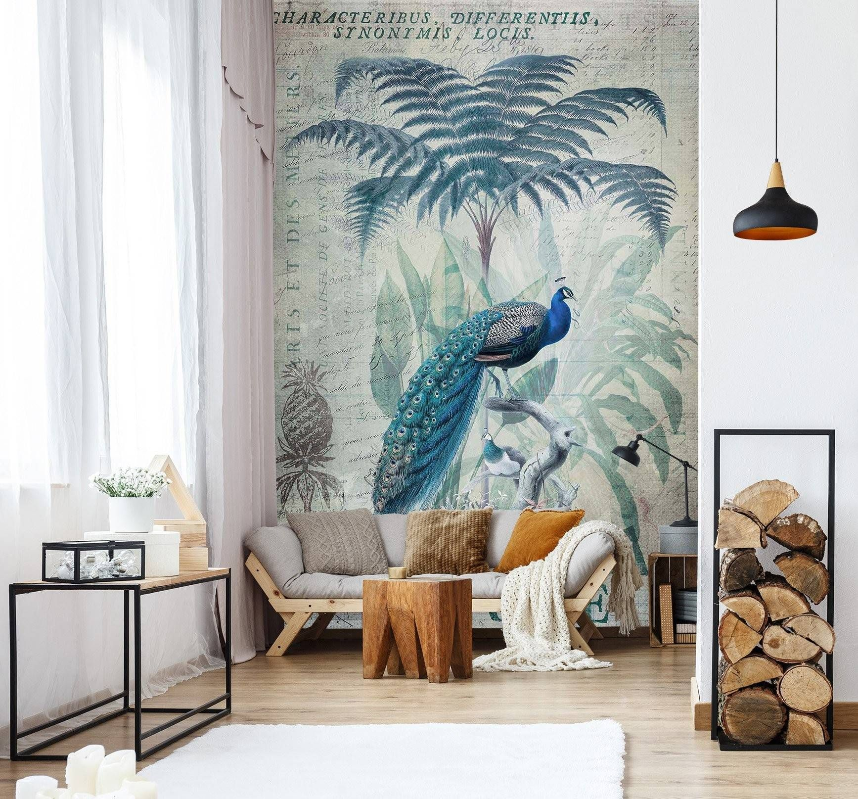 3D Forest Peacock 1027 Andrea haase Wall Mural Wall Murals Dai