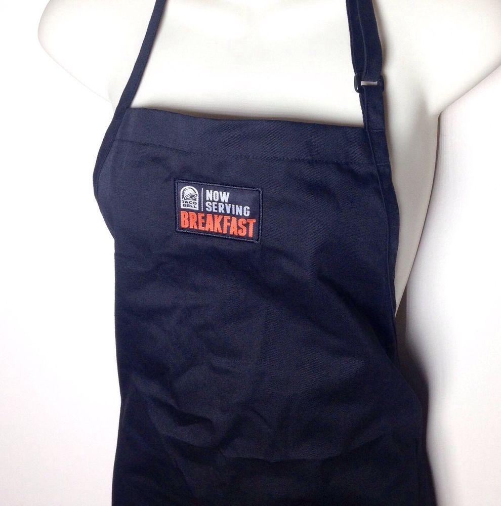 77b681a9c1d Taco Bell Now Serving Breakfast Reversible Black Employee Apron Uniform  Worker  TacoBell