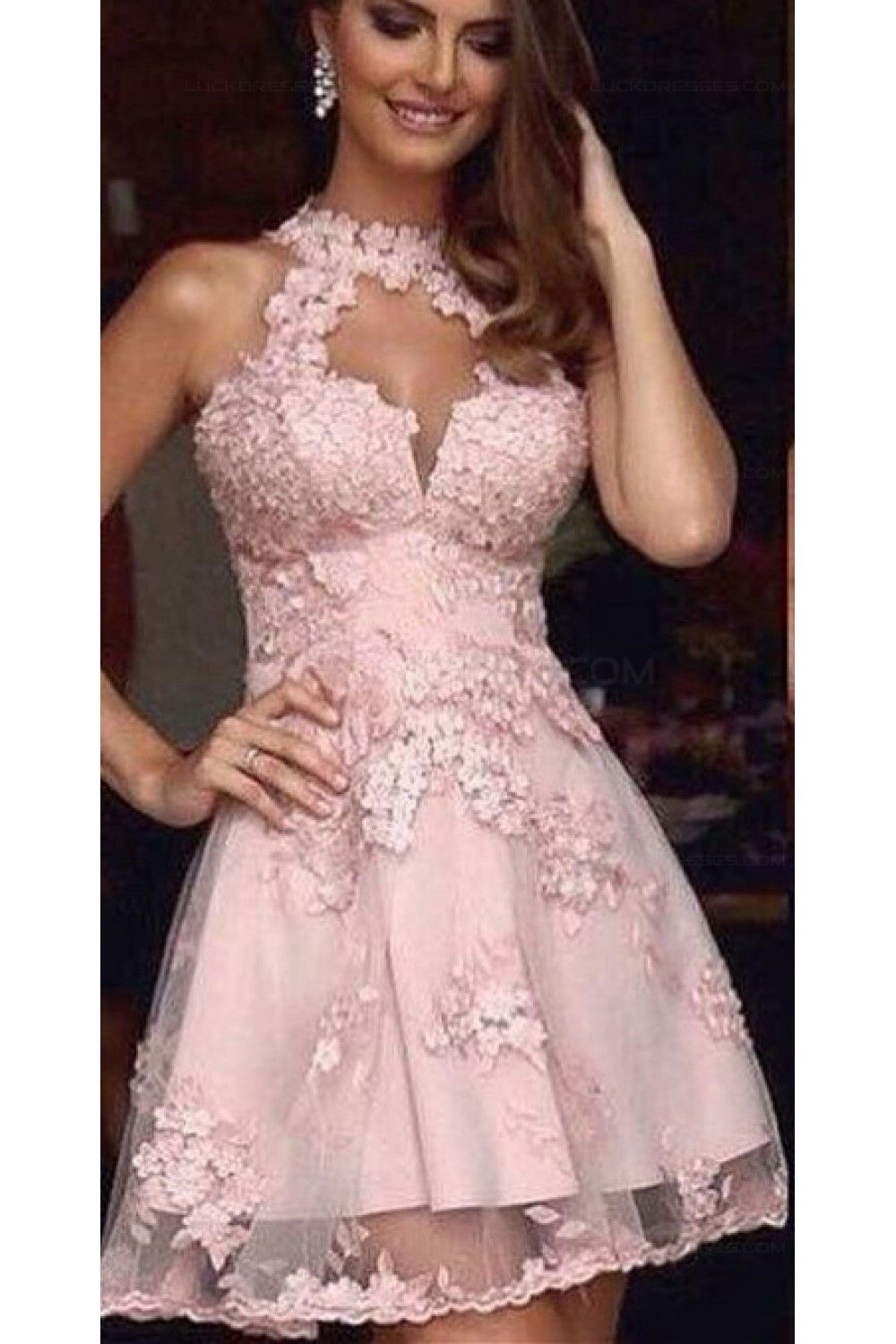 A-Line Short Pink Lace Prom Evening Cocktail Homecoming Dresses ...