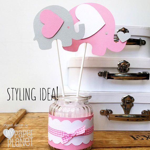 Gianna S Pink And Gray Elephant Nursery Reveal: Elephant Centerpiece Or Cake Smash Topper In Pink & Grey