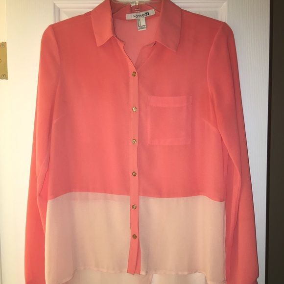 F21 Sheer High-Low Button Up Never worn. Salmon and light peach color block with fun overlap in the back. Best fit for a 6 or 8. Forever 21 Tops Button Down Shirts