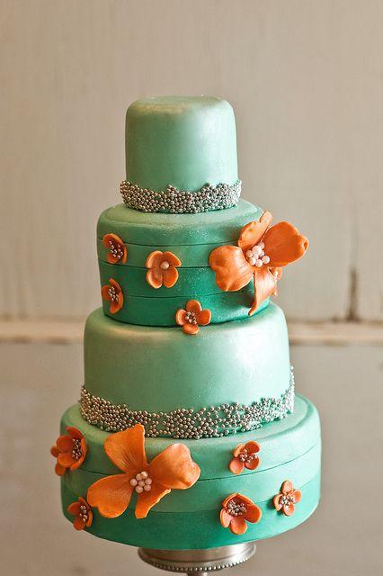 orange and turquoise mini cake by Enlightened Patisserie,LLC, via Flickr