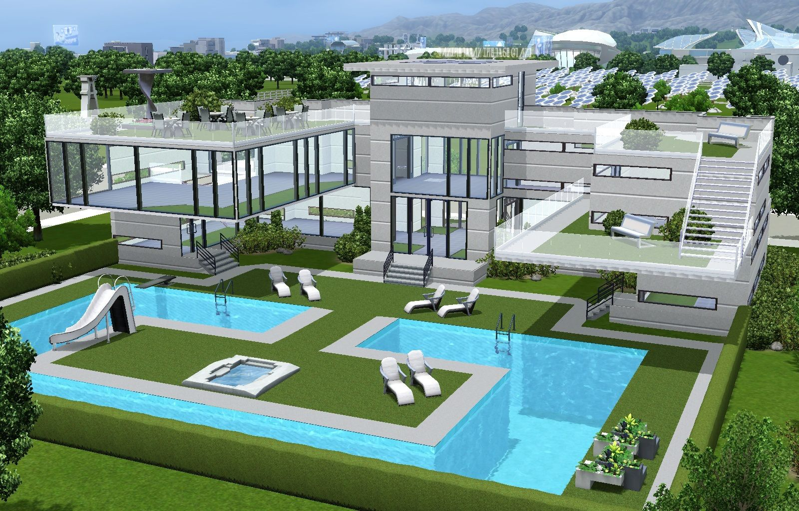 Luxorious sims pool and cafe must have gorgeous houses villas sims fixes also pinterest rh