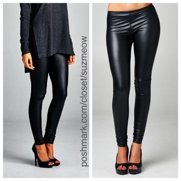 New! Black Vegan Leather Leggings • Sizes S, M New! Black vegan leather leggings Pair with your favorite sweater for a super chic fall/winter look! Cowl neck sweaters also for sale in my closet Available in sizes S, M, and L These leggings run true to size but are very tight - if you want a looser fit, size up. 96% polyester, 4% spandex ✅Discounts when bundled! No trades No pp Katana Couture  Pants Leggings