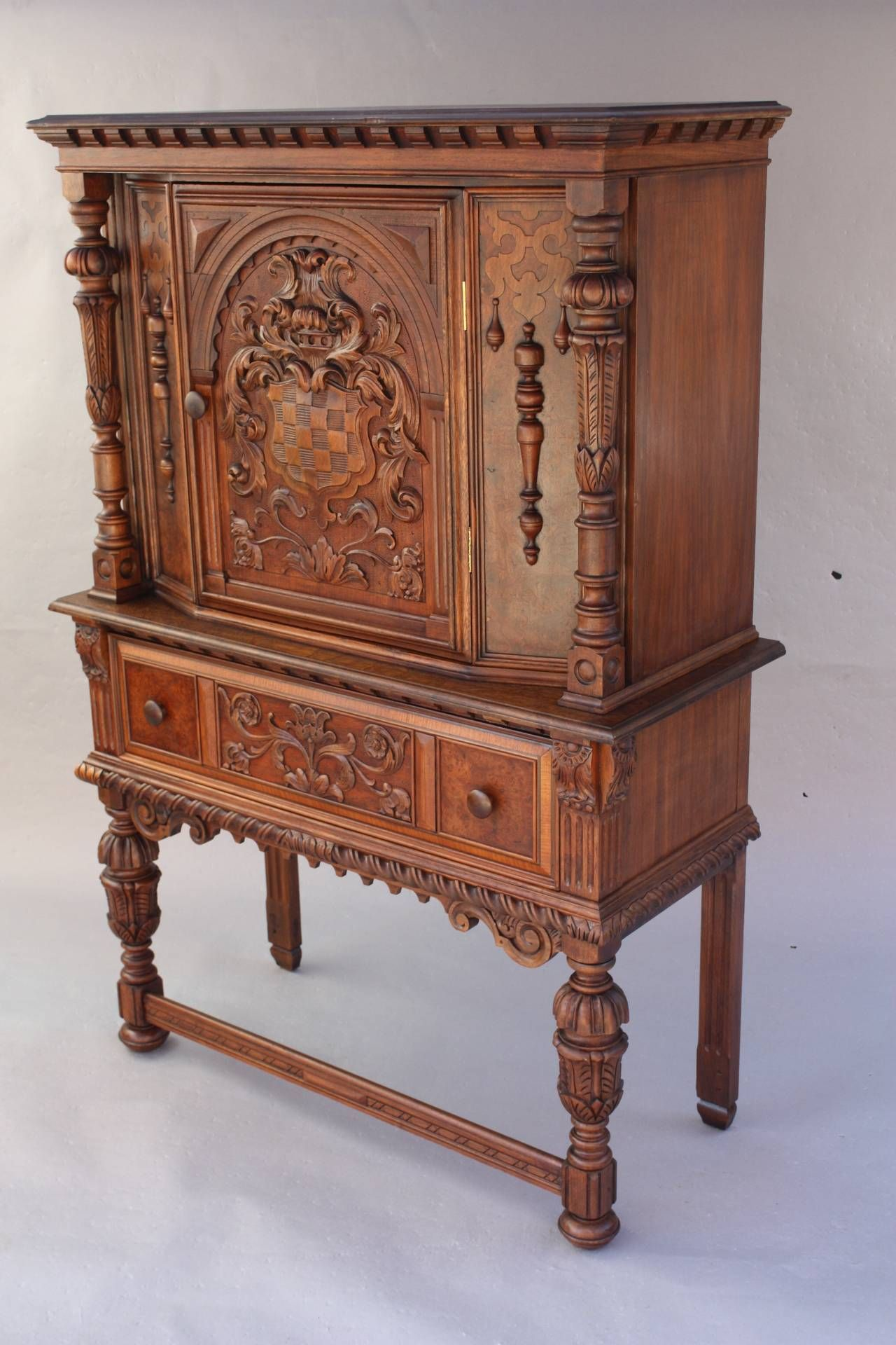 Beautifully Carved Cabinet By Berkey And 3 Unusual Furniture Fine Antique