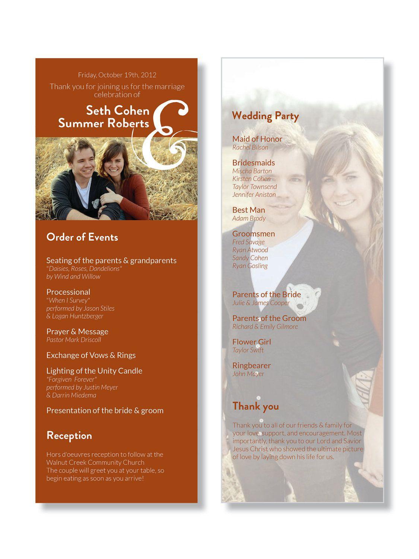DIGITAL Custom Printable Orange Photo Wedding Program