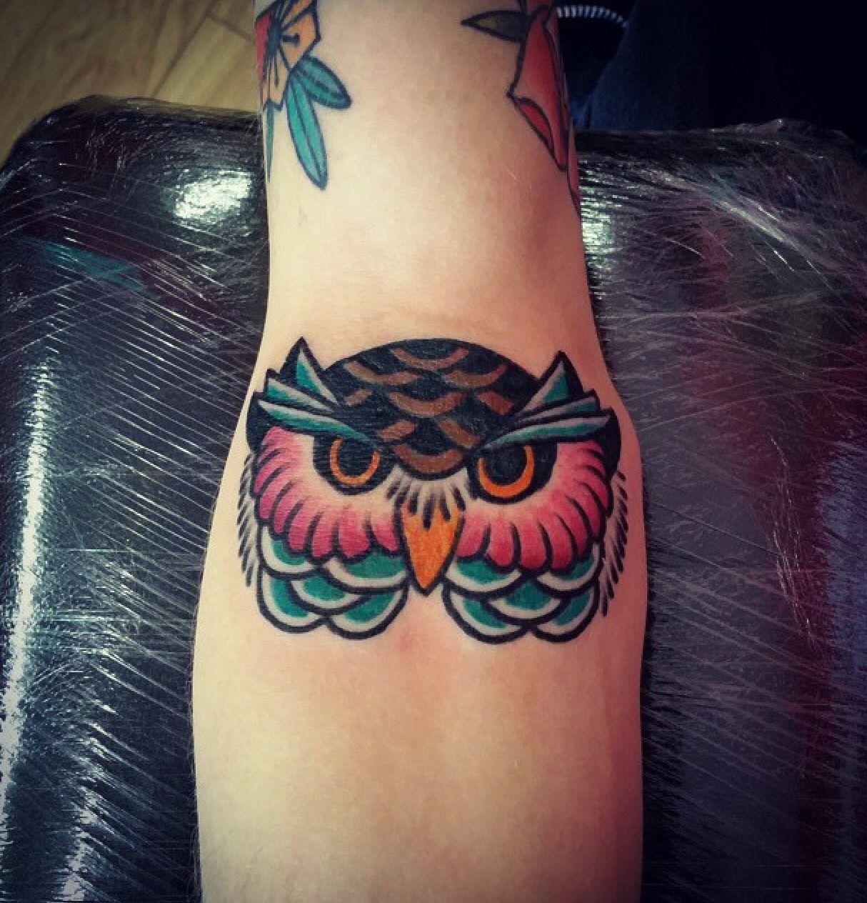 Colourful owl tattoo Matt did this morning