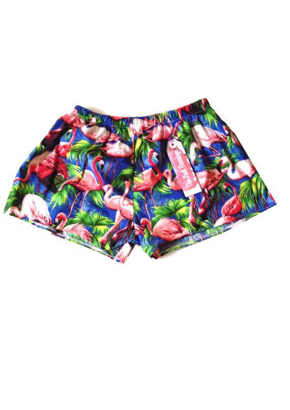 Retro Blue Flamingo Print Basic Shorts