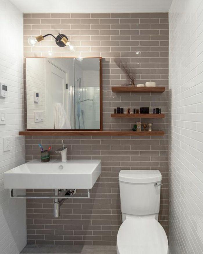 carrelage salle de bain en beige et blanc, plafonnier salle de bain - salle de bain carrelee