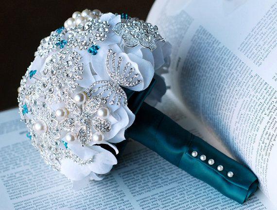 Vintage Bridal Brooch Bouquet Pearl Rhinestone