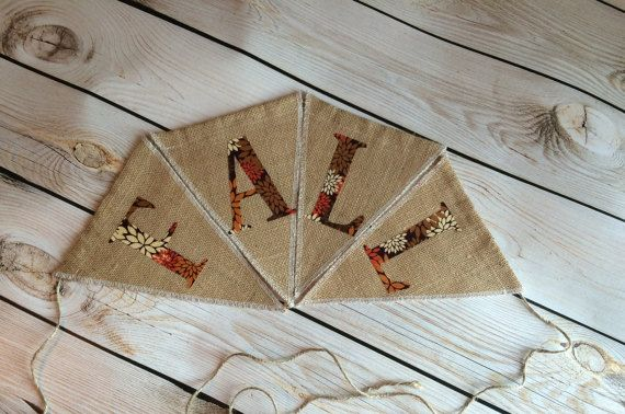 FALL handmade burlap banner cotton handmade by GramsCozyCorner