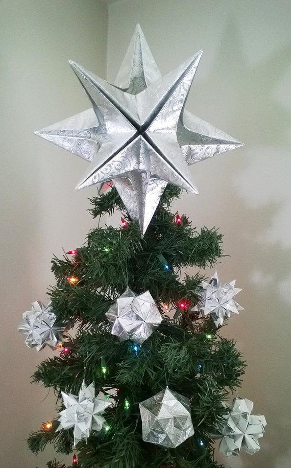 PREMIUM Origami Christmas Tree Topper - Silver, Classic ...