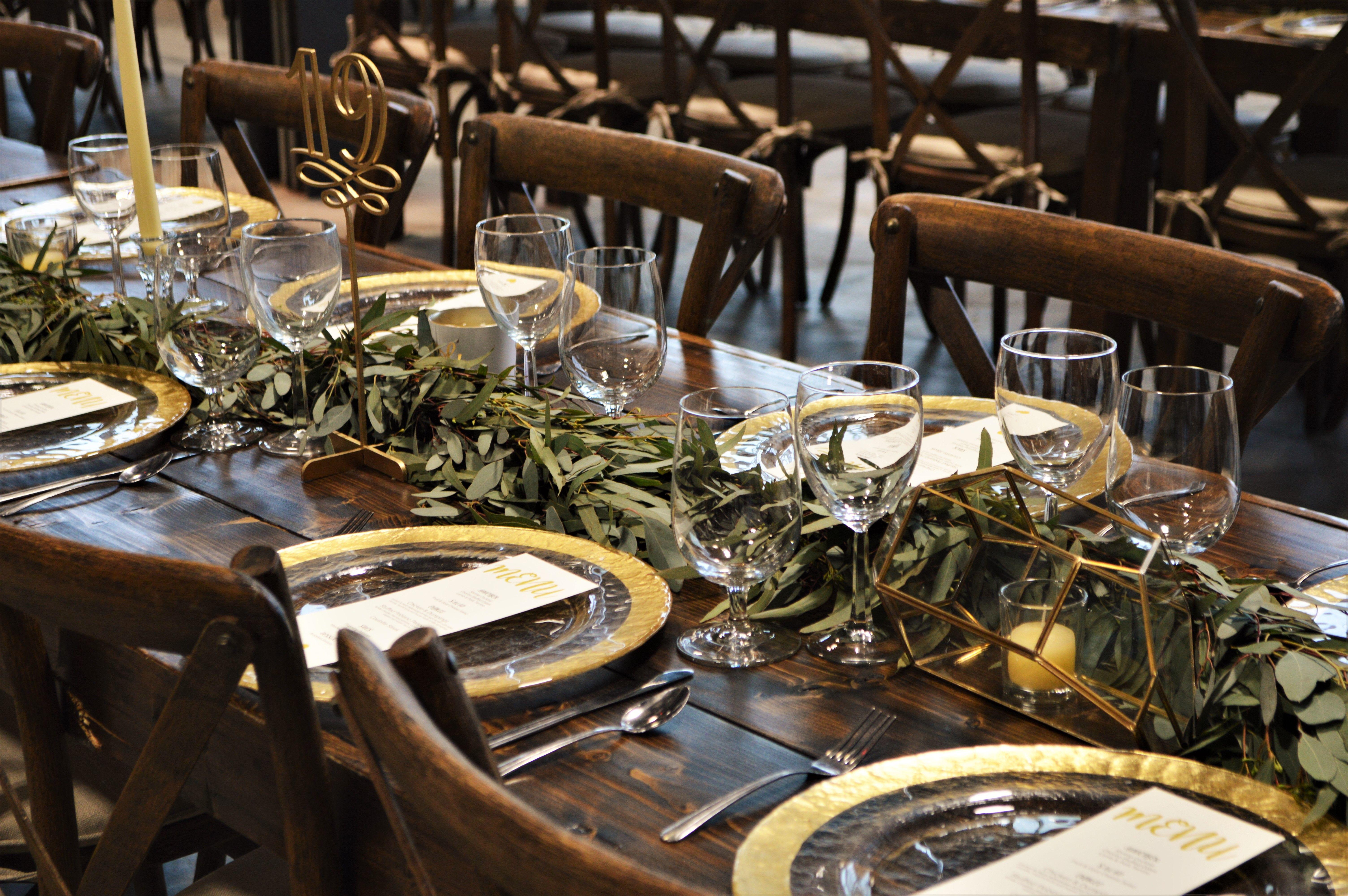Reception table decor by Casey\'s Garden Shop & Florist, rustic, farm ...
