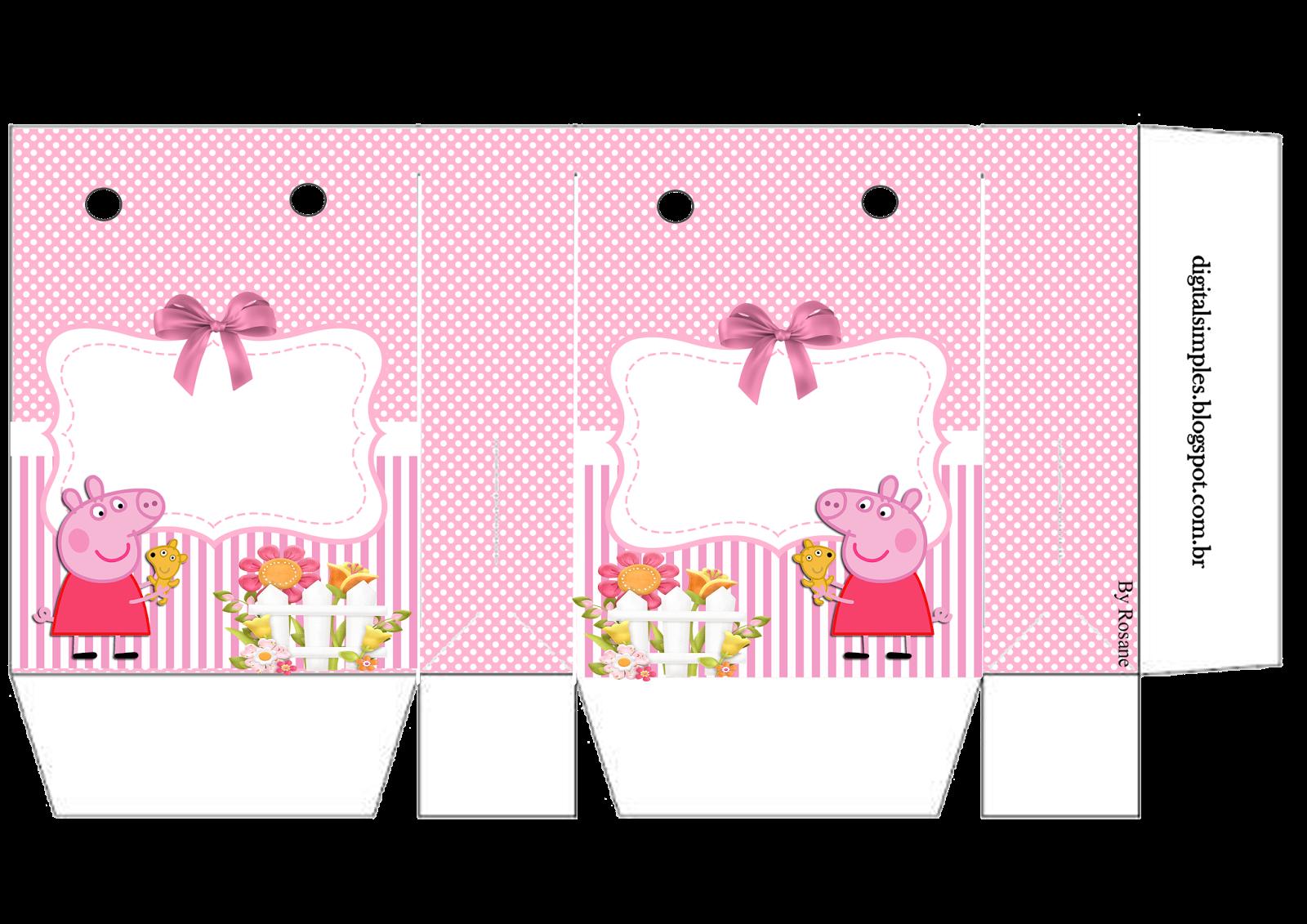 Peppa pig con perrito bolsas de papel para imprimir - Papel infantil para pared ...