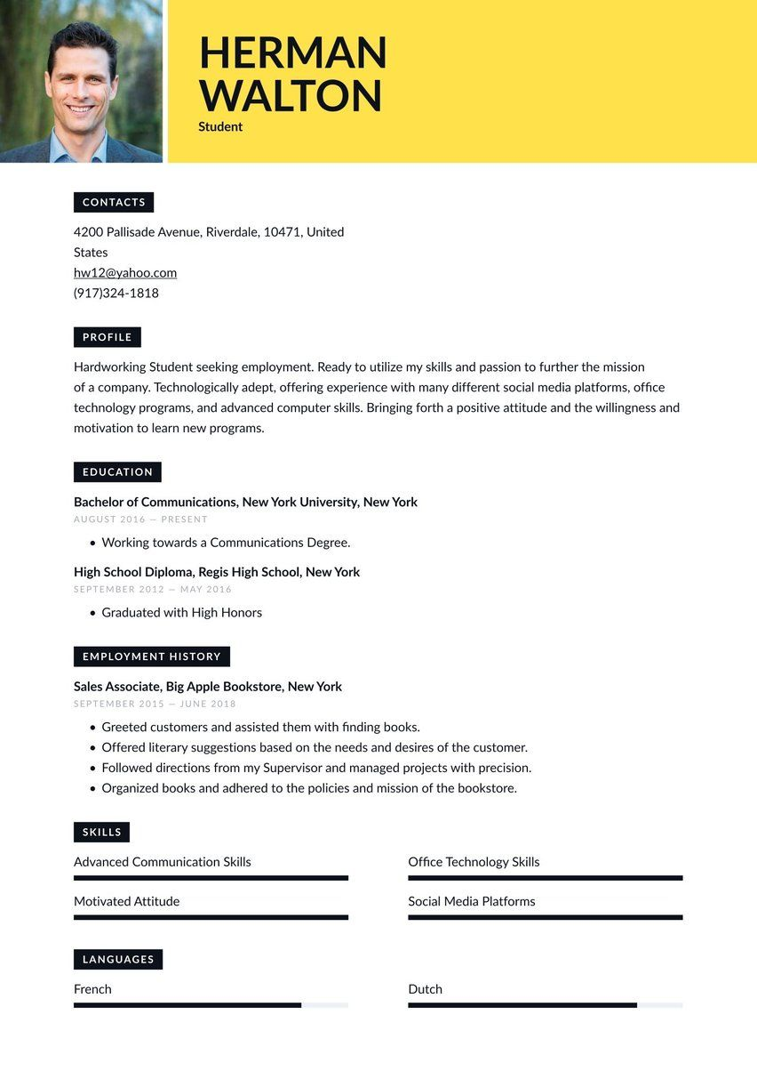 Create Your Job Winning Resume Resume Io Student Resume Template Student Resume Resume Examples