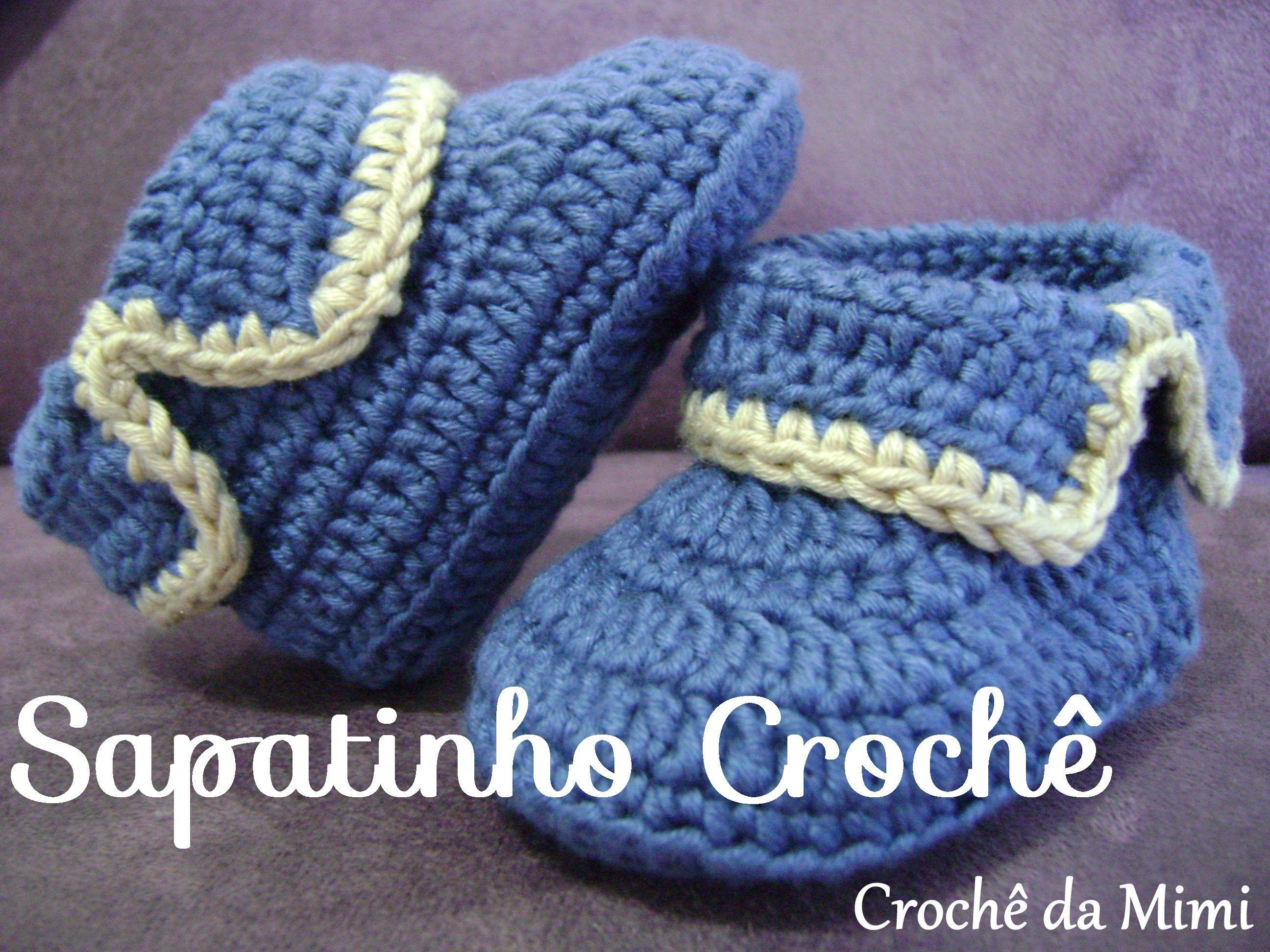 Passo a passo do sapatinho de crochê para bebê. Step by step crochet ...