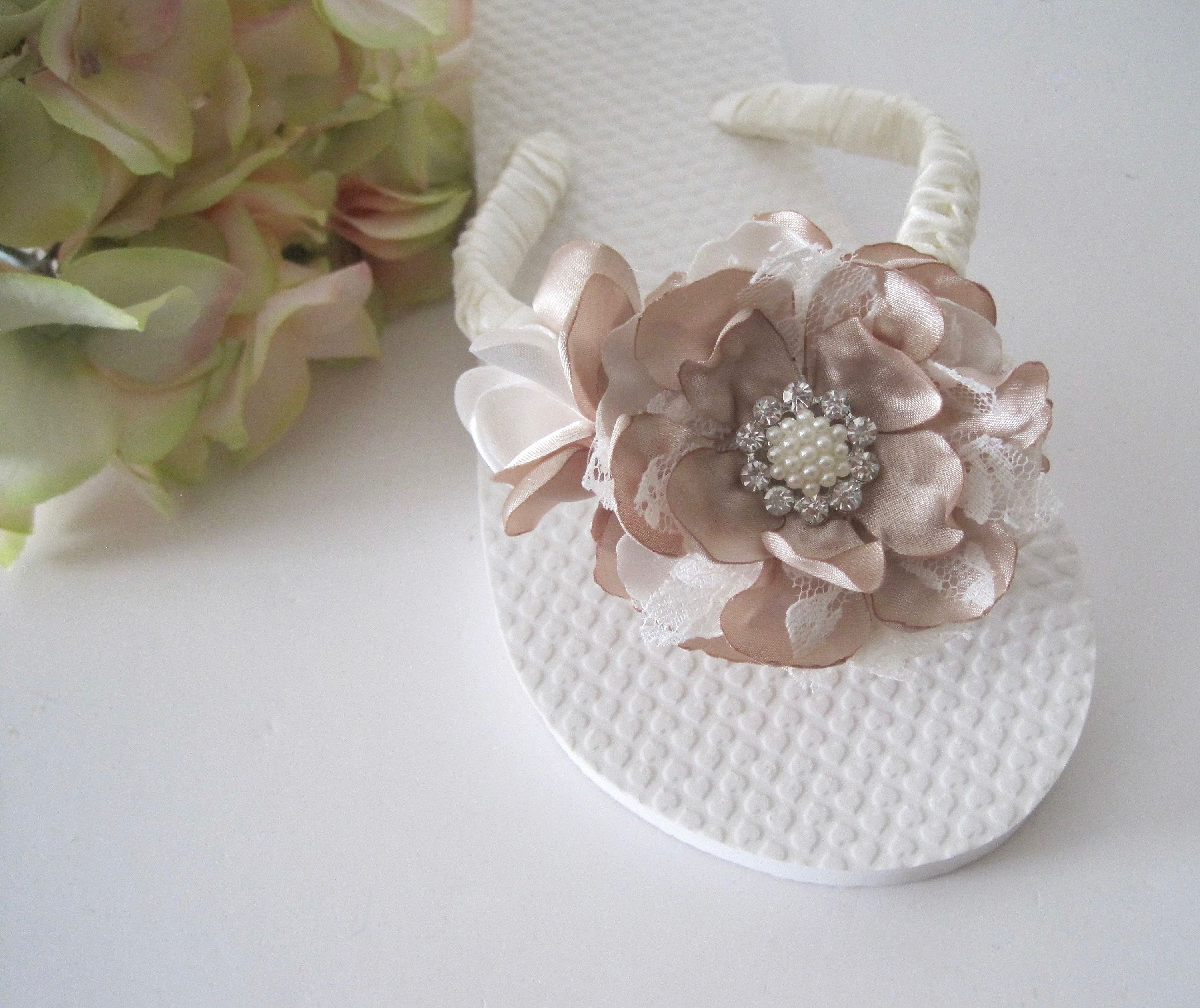 3d39513d5adf17 Little Girl Flip Flops Bridal Wedding Flower Girl French Knotted with  Champagne Ivory and Lace Handmade Flowers Pearl and Rhinestone Accent by ...