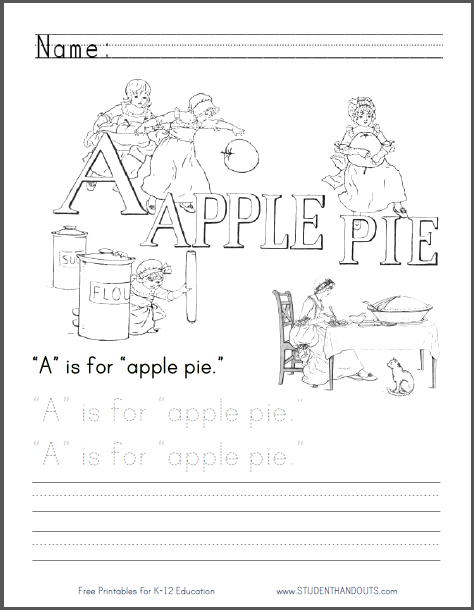 A Is For Apple Pie Coloring Page