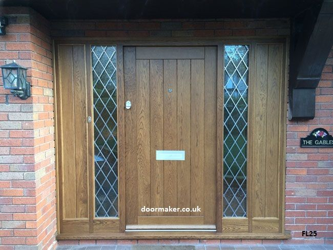 Cottage Door With Sidelights: Oak Cottage Style Door And Sidelights Lead Glass