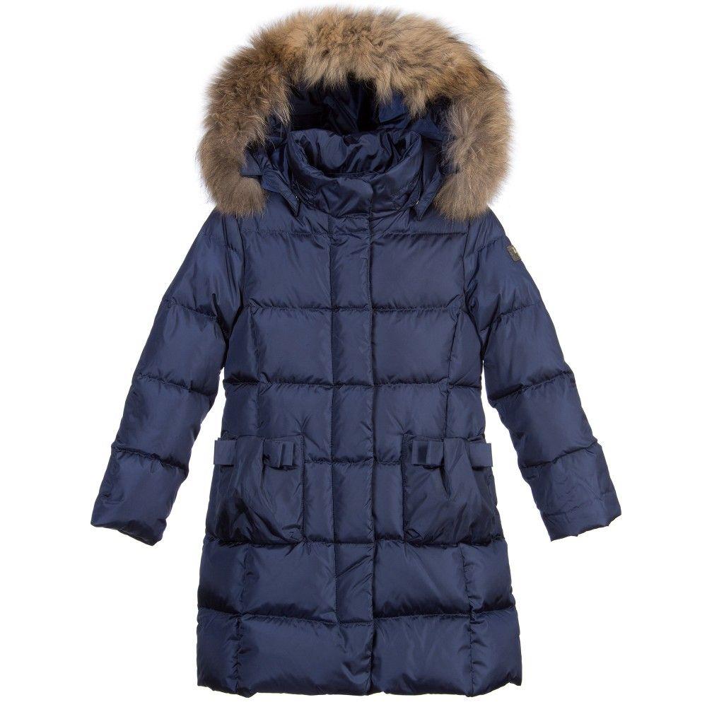 Coat Girls 羽绒服 Down Blue Il Gufo With Navy Fur Girl Padded Trim gIPrn1Iwq