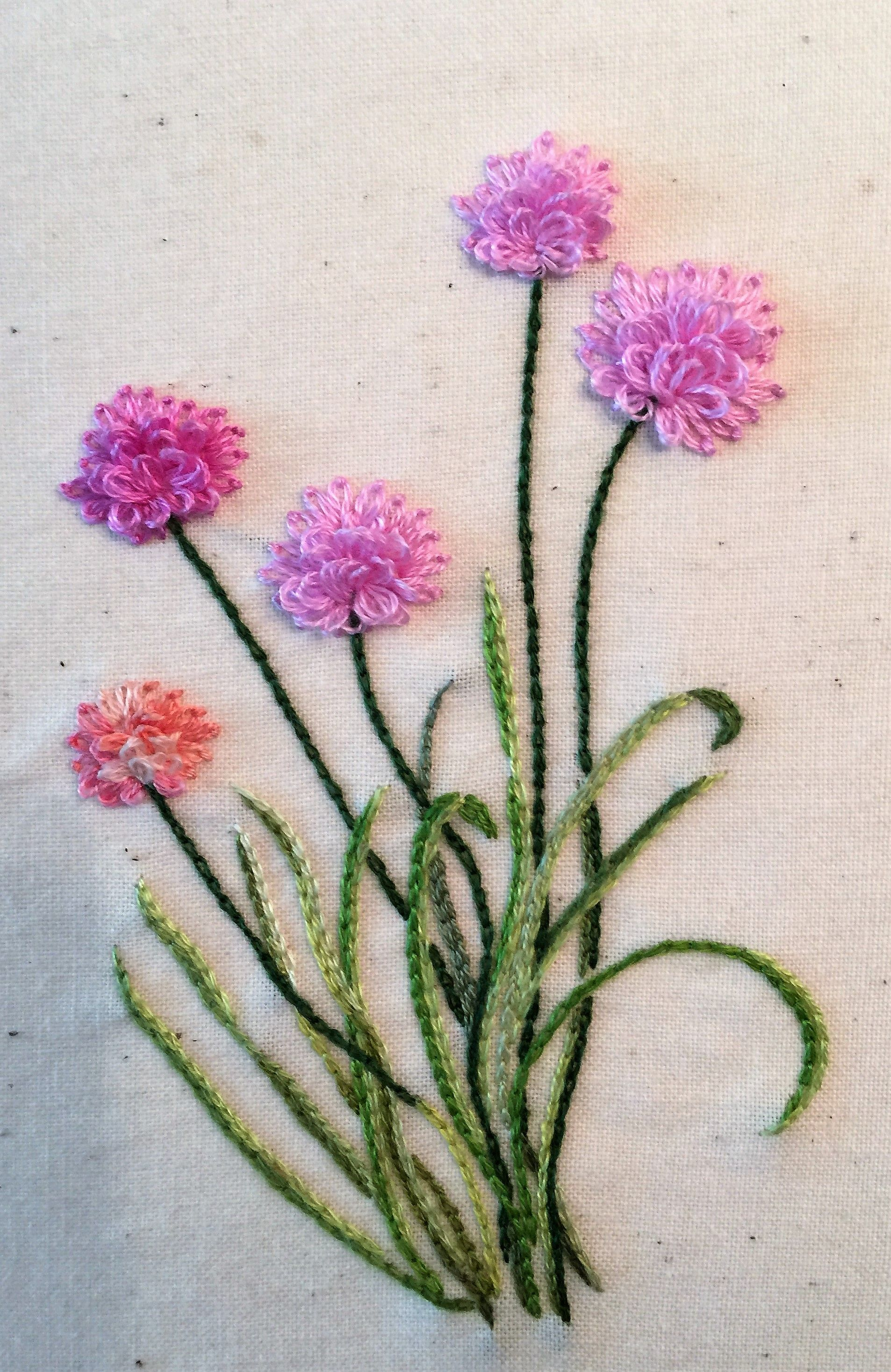 Flowers embroidery looks like sea thrift hand embroidery