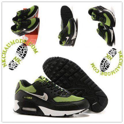 outlet store 03559 24fc2 Mode   Nike Chaussure Sport Air Max 90 Femme Vert Treillis Noir Blanc