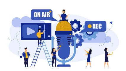 Radio music TV on air live rec interview people vector illustration Hot news with mic broadcast sound communication studio Male listen media headphone Concept record onli...