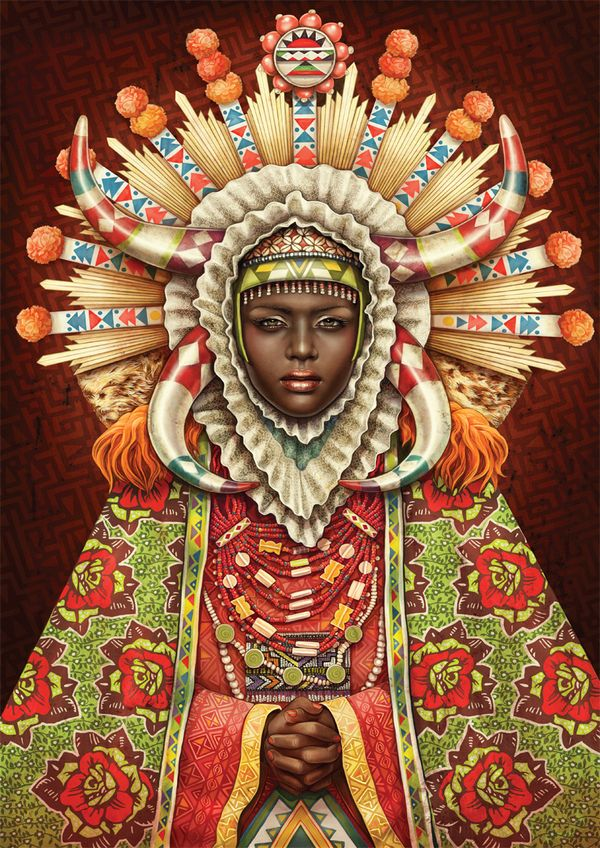 """""""African Madonna"""" - Illustration by Studio Muti in South Africa."""